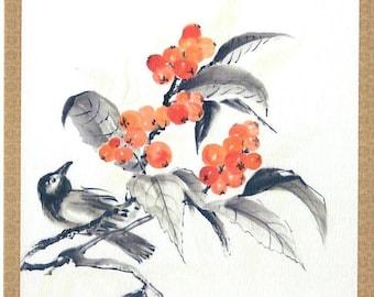 Birds. 3 Sumi-E postcards.