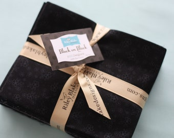SALE 7 fat quarters Black on Black Tone on Tone by Riley Blake