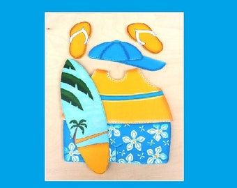 "Surfer Beach Outfit - Wooden ""Seasonal Bear n Friends"" Outfit"