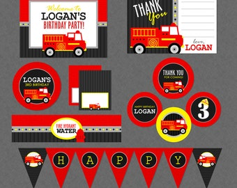Fire Truck Birthday Printable Mega Party Pack - Fire Fighter Birthday Party , Firetruck Birthday Decorations , Fire Engine Birthday