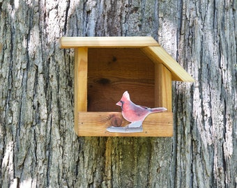 Northern Cardinal - Cedar bird house