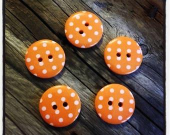 Set of 5 buttons dot orange embellishment scrapbooking