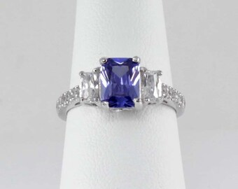 Tanzanite Sterling Silver Ring / Tanzanite Ring Silver