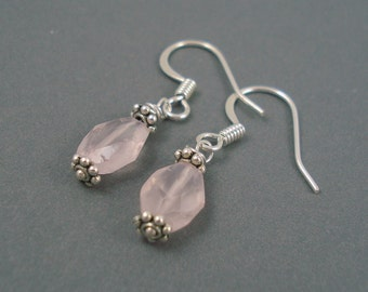 Rose Quartz Earrings on Silver Plated French Wires Handmade Earrings