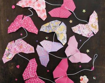 Garland paper origami butterflies