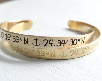 Custom Coordinates Latitude Longitude Anchor Cuff, Beach Wedding, Coordinates, Hand Stamped Bracelet. Gold Brass Nautical Bangle