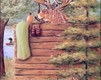 Rustic Bathroom Wall Decor, Cabin Bathroom Wall Art, Deer Lover Gift Idea, Mountain Cabin Bathroom Art Print, 3 Sizes - 8x10 to 16x20
