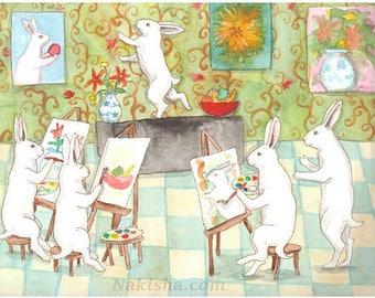 Art Class - Fine Art Rabbit Print