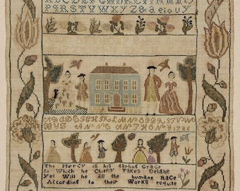 Colonial Sampler Antique Cross Stitch Pattern Museum Sampler Created In 1786 By A 10 Year Old---This Pattern Is A Remake Of Original--