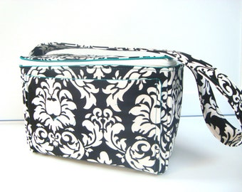 """4"""" Large  Coupon Organizer Holder Coupon Box  Coupon Bag with Zipper Closer - Black and White Damask  Turquoise Lining"""