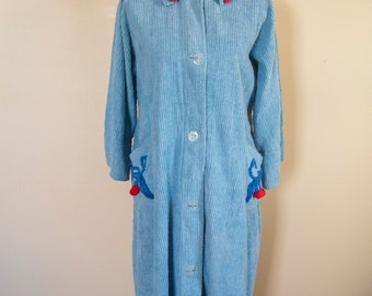 50s 60s NOS Chenille Robe with Cherries Size Medium to Extra Large