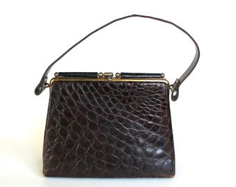 Vintage 1950s/1960s Dark Brown Alligator/Crocodile Clasped Handbag