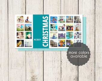 Instagram / Snapshot Photo Collage Holiday Card  4 X 8 (Digital File or Printed Cards)