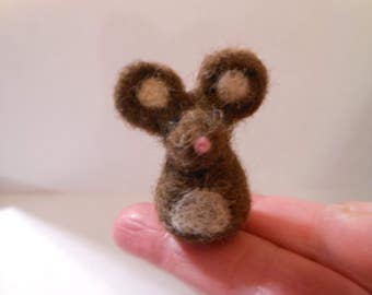 Miniature Tiny Wool Needle Felted Mouse