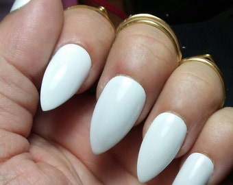 White Stiletto Nails, Long or Short, Glossy or Matte, Acrylic Press on Glue on Nails, False Fake Nails, Wedding Prom Casual, Coffin, Square