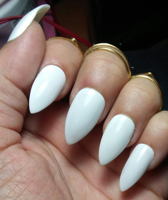 White Stiletto Nails Long or Short Glossy or Matte Acrylic