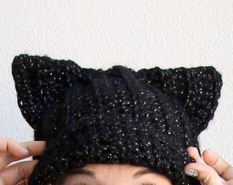 Kitty Cat slouchy hat, beanie