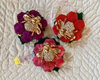 Retractable tapemeasure embellished with handmade hexagon flower and rheinstone bee
