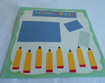 School Days 12x12 Premade scrapbook page, die cut pencils, DIY school album, back to school memory book, frameable art, primary colors