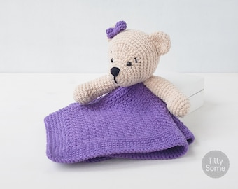 Teddy Bear Lovey Pattern | Security Blanket | Crochet Lovey | Baby Lovey Toy | Blanket Toy | Lovey Blanket PDF Crochet Pattern