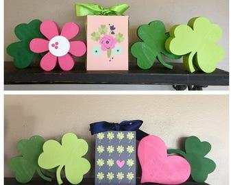 Hearts and Shamrocks, St. Patrick's Day Flowers - St. Patrick's Day 3x4 Wood Blocks
