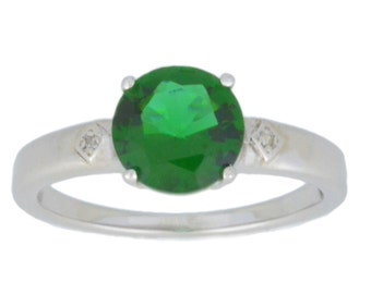 2 Ct Emerald & Diamond Round Ring .925 Sterling Silver Rhodium Finish