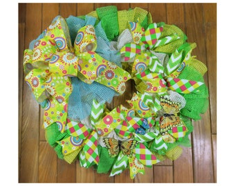Spring and Summer Yellow and Green Wreath