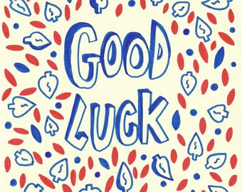 Good Luck | A5 Original Drawing | Super Cute Heart Warming Illustration Gift