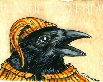 A Crow in Loud Pajamas - watercolor print