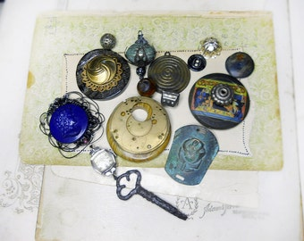 SALE - Steampunk Pendant Components - Assemblage Supplies - Metal, Stone, Bone - Key, Watch Parts, Buttons, Beads - Lacy Steel Frame