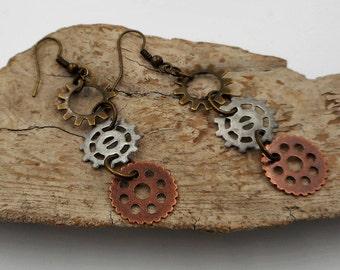 Industrial gear earrings Steampunk mixed metal cogs dangle earrings