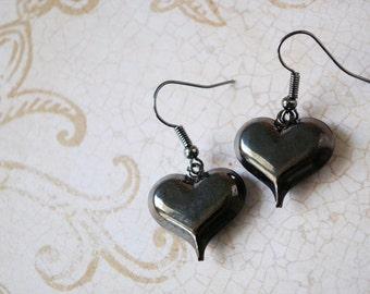 Dark Heart Earrings, Gunmetal Jewelry, Love, Boho Jewelry, Bohemian Style