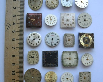 20 pieces. USSR watch face dials Old watch parts For steampunk art Soviet clock face