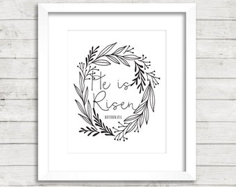 "8x10 ""He Is Risen"" + Laurel Leaf Wreath Printable and Instant Download"
