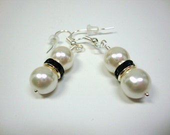 Black and White Crystal Delight Pearl Earrings Wedding Formal Occasion Bridesmaid Jewelry