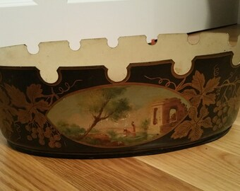 Antique French Tole Hand Painted Planter   Sku: 008