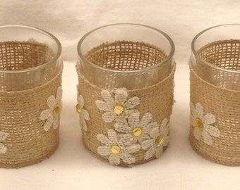 Votive Candle Holders - Set of 3 Burlap Glass Candle Holders - Mother's Day Gift - Birthday Gift