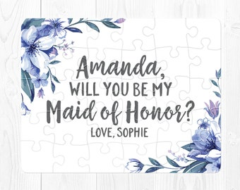 Maid of Honor Proposal Gift Maid of Honor Proposal Puzzle Maid of Honor Puzzle Proposal Will You Be My Maid of Honor Proposal Card Navy Cute