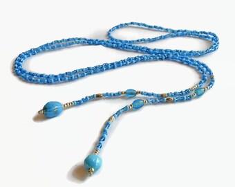 Boho lariat necklace, dainty seed bead lariat, sky blue wrap necklace, blue lariat, beaded lariat, layering necklace