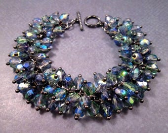 Cha Cha Style Bracelet, Stormy Skies, Blue and Green Glass Beaded, Gunmetal Silver Charm Bracelet, FREE Shipping U.S.