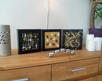 Decorative wall gold black triptych gold