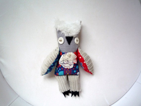 Benjamin Beadson owl  , soft art textile  creature  by  Wassupbrothers, buho boho , stuffed  doll, recycled bohemian scrappy home decor