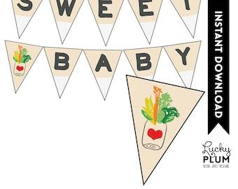 Locally Grown Baby Shower Banner / Farmer's Market Banner / Fruit Vegetable Banner / Farmer's Market Pennant / DIY Printable /  Digital
