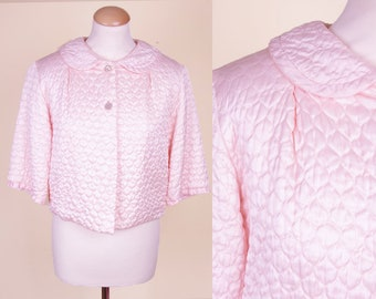 Light Pink Padded (late) 50s Bed Jacket M