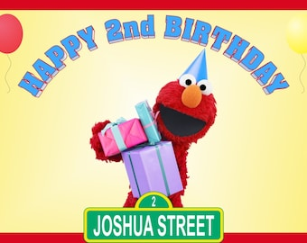 Personalized PBS Kids Sesame Street Elmo Birthday Party Big Vinyl Banner Sign Decoration