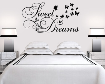 Sweet Dreams Butterflies Flowers Vinyl Art Home Walls Quote Decal Sticker Decor