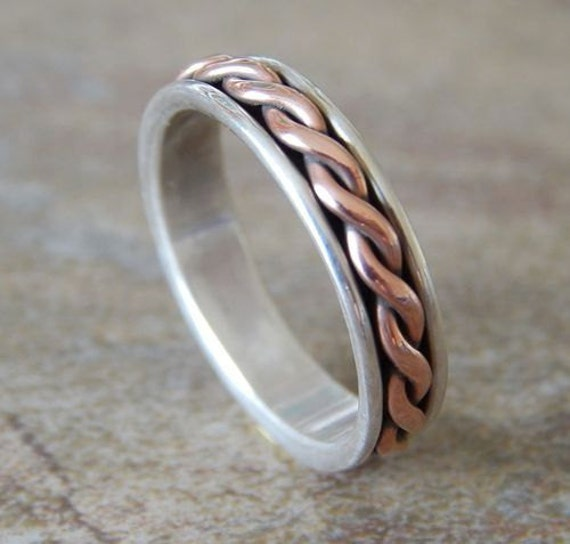 DANCING TWIST Silver & Copper 5mm // Men's Wedding Ring