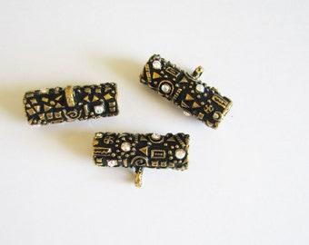 ornate Tube Beads, Tube Bead, Crystal Covered Bead, Jewelry Making, Steam Punk Barrel Beads