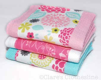 Baby Burp Cloths - Pink and Aqua Tropical Flowers Burp Cloth Set of 3 - READY TO SHIP