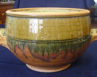 Vintage Pottery Bowl with Handles